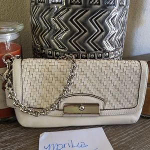 Coach Kristen Woven Leather wristlet